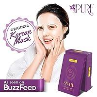 LA PURE Korean Face Mask - Hydrating Sheet Mask, Beauty Snail Mask, Anti-Wrinkle...