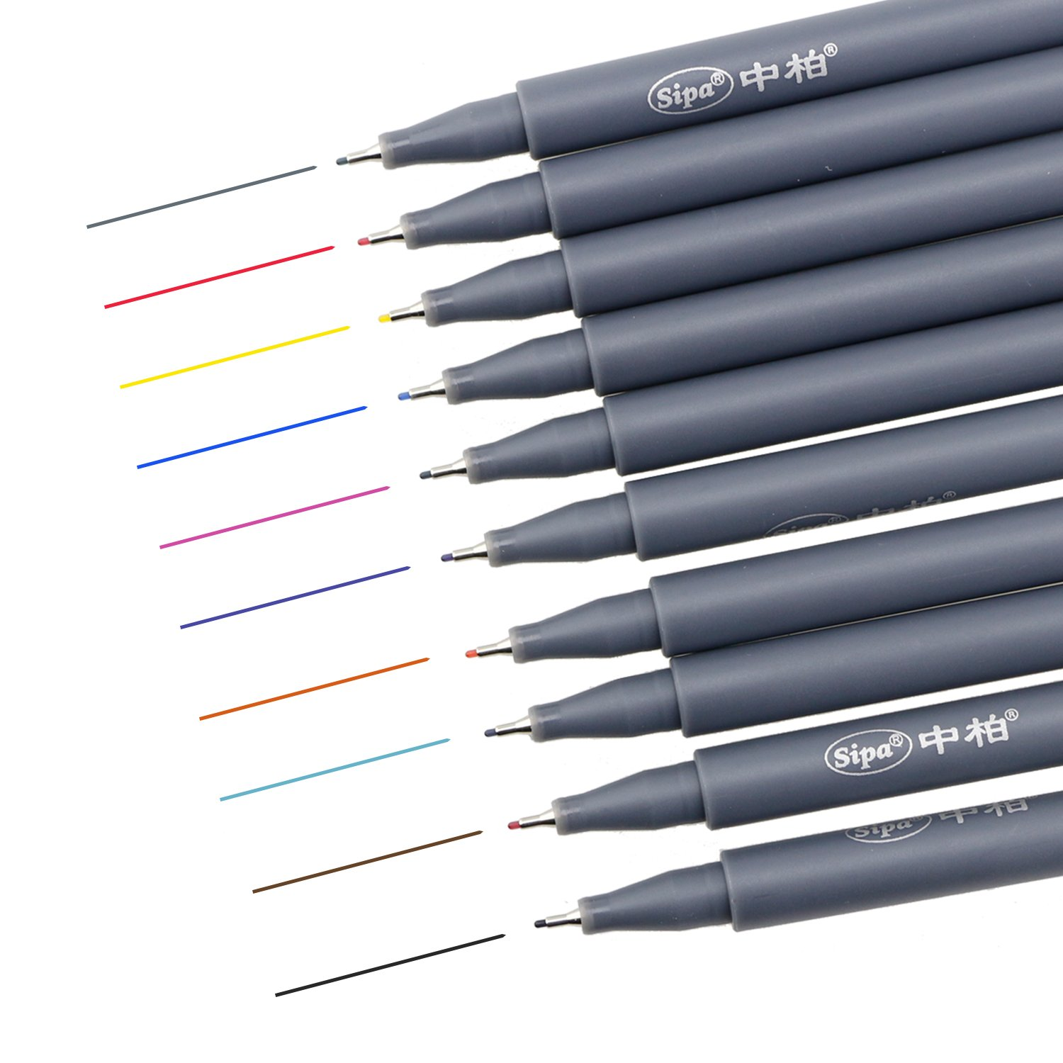 10 Assorted Colors FineLiner Drawing Pen, 0.38mm Porous Fine Point Color Pen Set for Adult Coloring, Bullet Journaling, Note Taking Art Projects