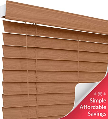 CHICOLOGY Custom-Made 2-inch Faux Wood Blind, Simply Brown,Horizontal Window Shade Inside Mount, 47 W X 60 H