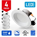 IN HOME 4-inch LED Downlight RETROFIT KIT Recessed Lighting Fixture, 10.5W (60W Equivalent), Dimmable, 4000K (Bright white), 700 Lumens, (4 Pack), UL and ENERGY STAR listed
