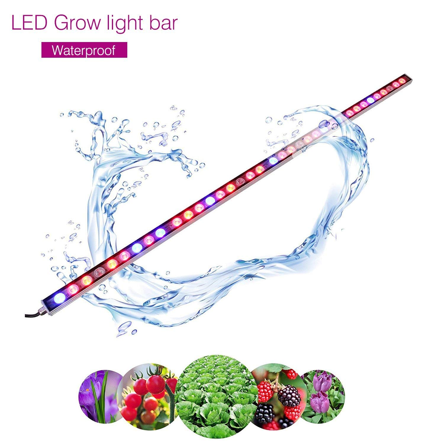 LED Grow Light, 108W Waterproof growing light bar with UV/IR/Red/Blue Spectrum for Garden Greenhouse Hydroponic Indoor Plants Growing by Lightimetunnel