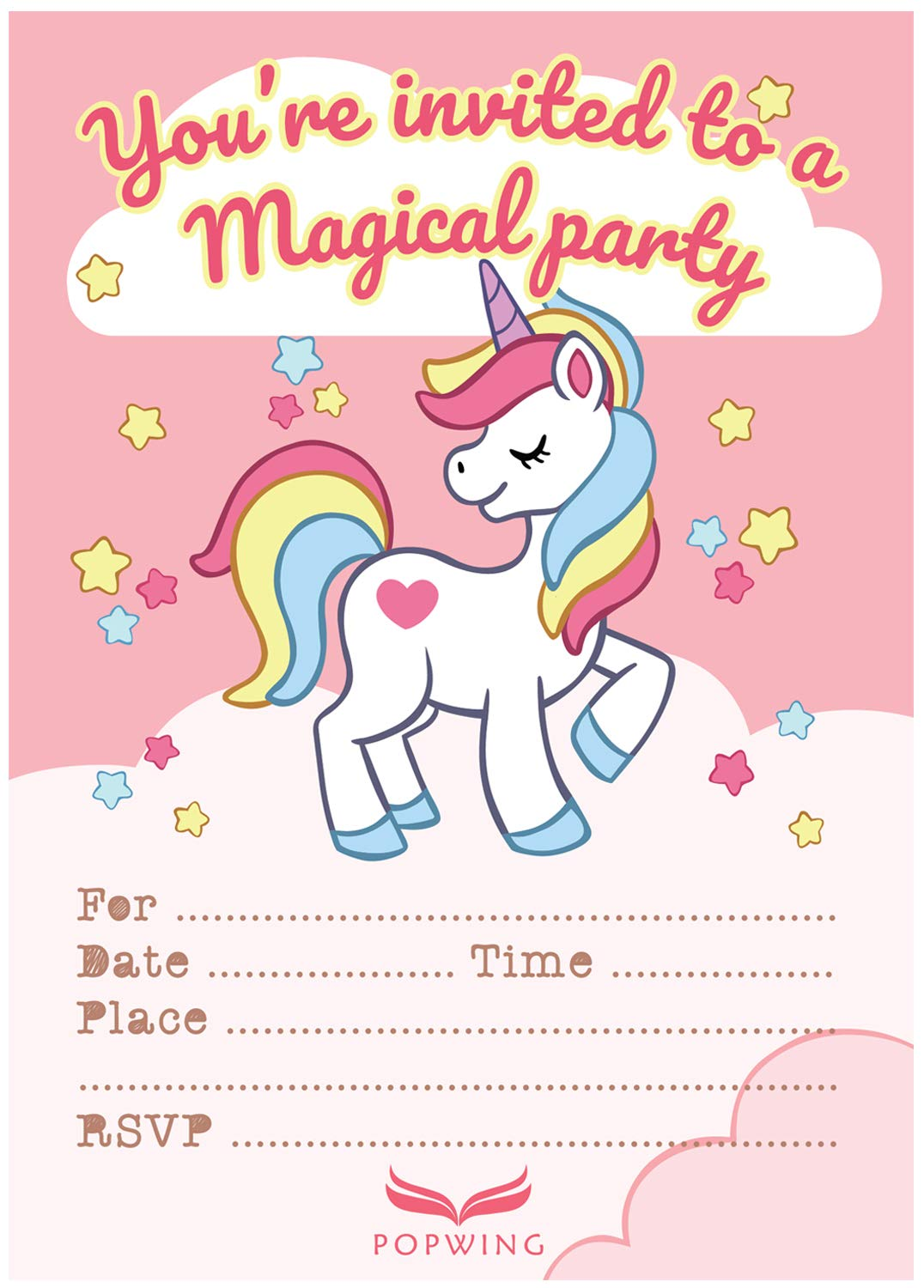 POPWING 30 Unicorn Party Birthday Invitations with Envelopes for Girls Unicorn Party Supplies