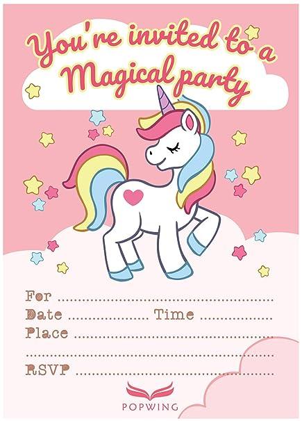 Amazon POPWING 30 Unicorn Party Birthday Invitations With