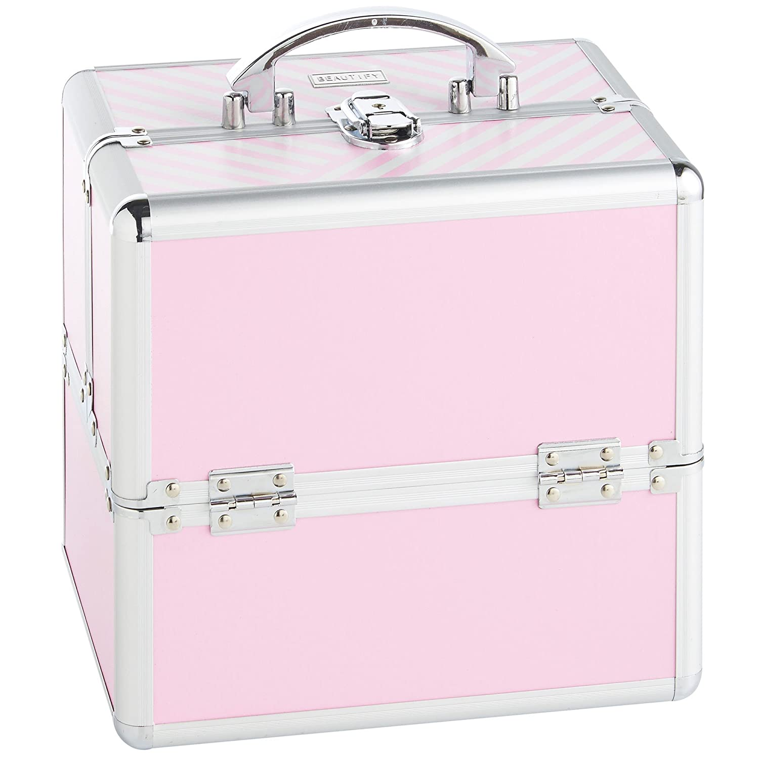 Beautify Silver Beauty Case - Large Professional Aluminium Storage for Make Up Nail - Cosmetic Box