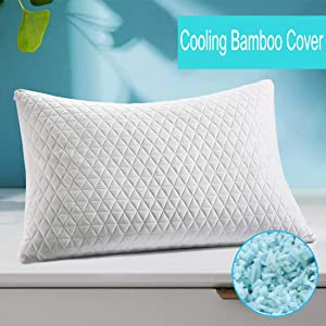 Shredded Memory Foam Pillow, Adjustable Pillow for Sleeping, Hypoallergenic Cooling Bed Pillow with Zipper Washable Removable Bamboo Cover for Back, Stomach, Side Sleepers(Standard)