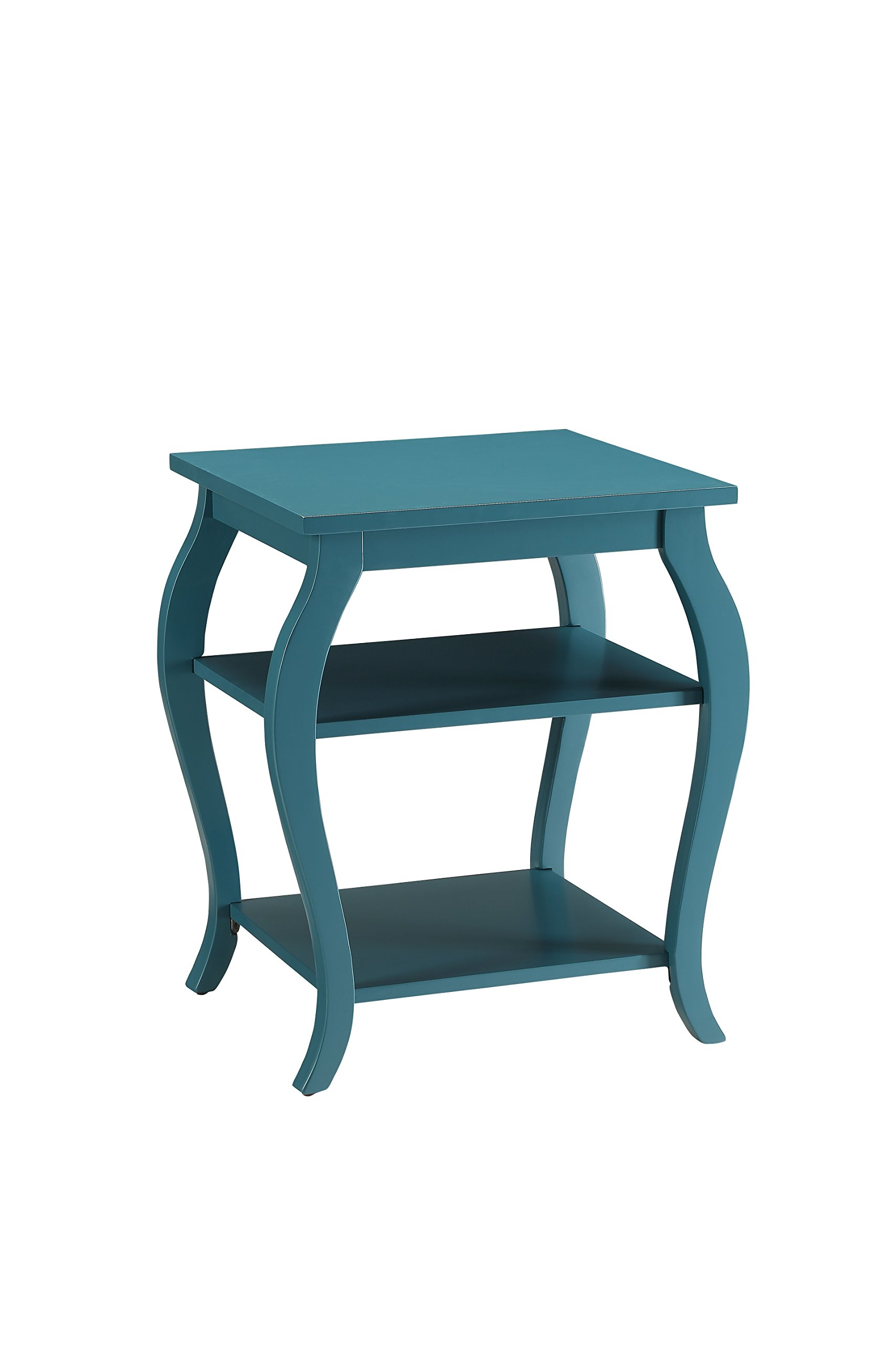 ACME Furniture 82832 Becci End Table, One Size, Teal - Square Leg table With 2 shelves Open storage: 2 shelves - living-room-furniture, living-room, end-tables - 712AH5cMvML -