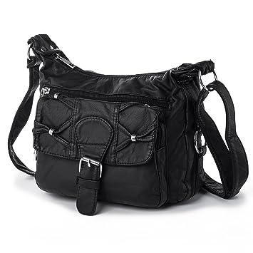 6016afa0eaa53 Damen Shopper Umhängetasche Kleine Schultertasche Handtaschen Ledertasche  mit Viele Reißverschluss Fächer Katloo (Schwarz)