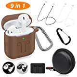 Cuauco 2019 Newest Airpods Case for Airpods 2 and 1 (Front LED Visible) with 2 Anti-Lost Strap/2 Pairs of Ear Hooks/2 Carabiner/1 Watch Band Holder/1 Headphone Case for Apple Airpods(9 Pack)-(Brown)