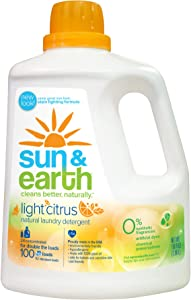 Liquid Laundry Detergent by Sun & Earth, Plant-Based Ingredients Safer Around Kids and Pets, Light Citrus Scent, 100 fl oz, Packaging May Vary