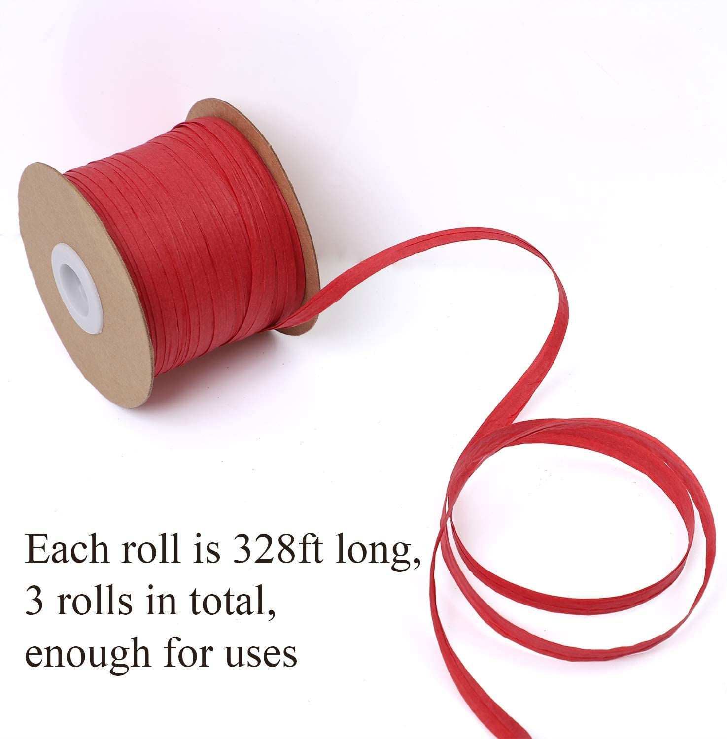 Craft DIY 3 Rolls Elcoho 984 Feet Raffia Ribbons Christmas Wrapping String Raffia Twine Matte Raffia Paper for Christmas Gifts Color A, 300m