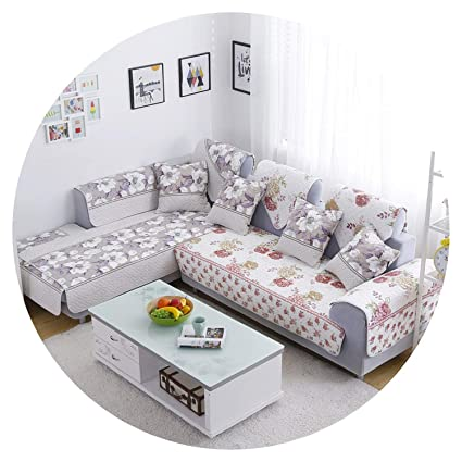 Amazon.com: L Shaped Sofa Cover Reversible Printed Cotton ...