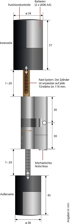Burg-W/ächter secuENTRY pro 7100 Zylinder Elektronisch