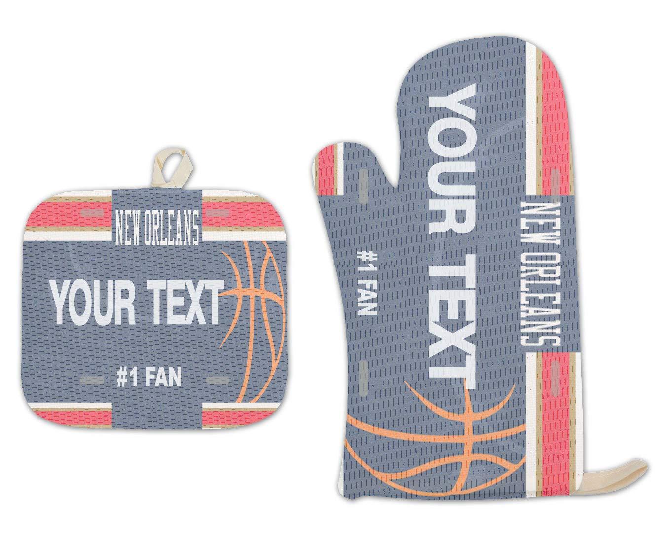 Bleu Reign BRGiftShop Personalized Custom Name Basketball Team New Orleans Linen Oven Mitt and Potholder Set