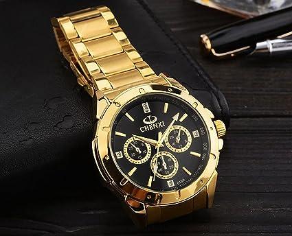 Amazon.com: ShoppeWatch Mens Gold Watch IP Plated Chunky Metal Bracelet Big Black Dial Reloj de Oro Dorado Hombres SWCX019A: Watches