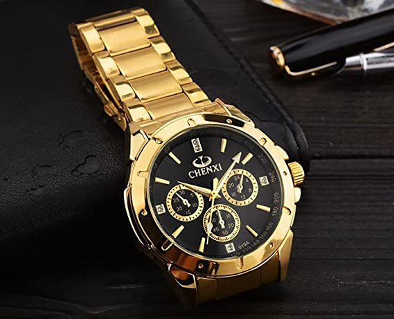 Amazon.com: ShoppeWatch Mens Gold Watch IP Plated Chunky Metal Bracelet Big Black Dial Reloj de Oro Dorado Hombres SWCX019A: Watches