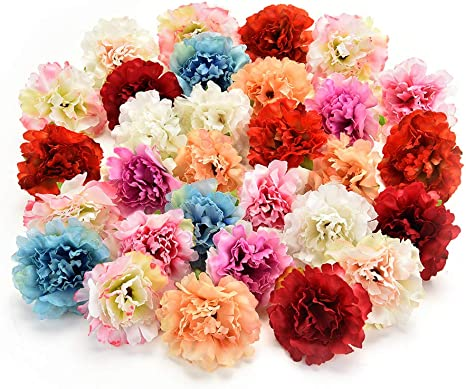 Lot of 38 Large Silk Artificial Flower Heads Daisies Peonies Dahlia