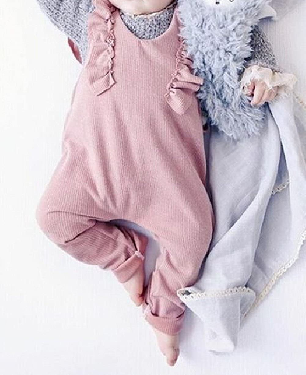 c761c14857a Amazon.com  XARAZA Toddler Baby Girl Ruffle Loose Jumpsuit Romper Overalls  Long Pants Clothes Outfits  Clothing