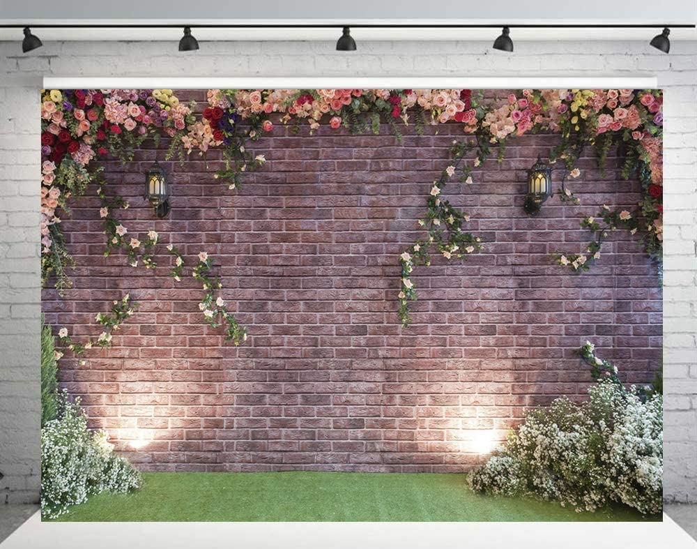 INRUI Spring Flowers Brick Wall Photography Background Garden Floral Wedding Ceremony Bridal Baby Shower Birthday Party Decor Backdrop (7x5FT)