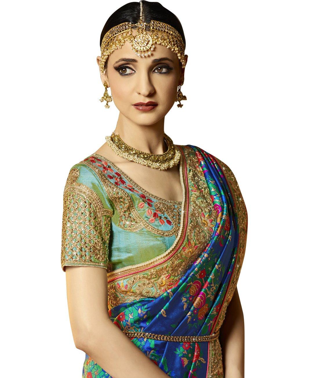 Maahir Garments Exclusive Indian Ethnicwear Banarasi Brocade Silk Royal Blue coloured Handloom Saree by Maahir Garments (Image #3)