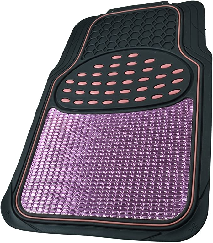 Semi Trimmable - MT614PKAMw1 BDK Metallic Rubber Floor Mats for Car SUV /& Truck 2 Tone Color Heavy Duty Protection Pink//Black
