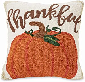 "Mud Pie Home Thankful Thanksgiving Pumpkin Hooked Wool Pillow- 16"" Square"