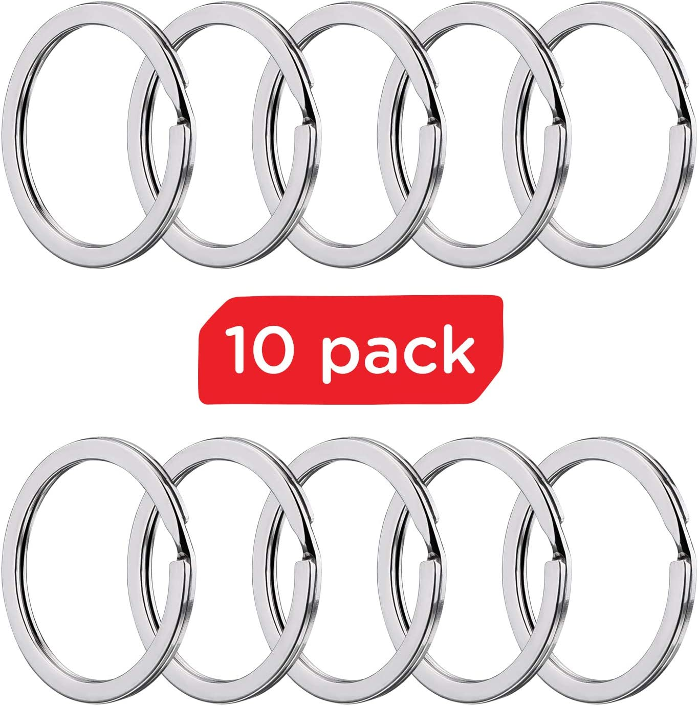 Keyrings for Office Crafts Home Organization Silver Silipac Metal Key Rings Chain Bulk-Heavy Duty Stainless Steel Split Car Loops Flat Ring Nickel-Plated Holder Round Nickel Plated 10 pcs Car