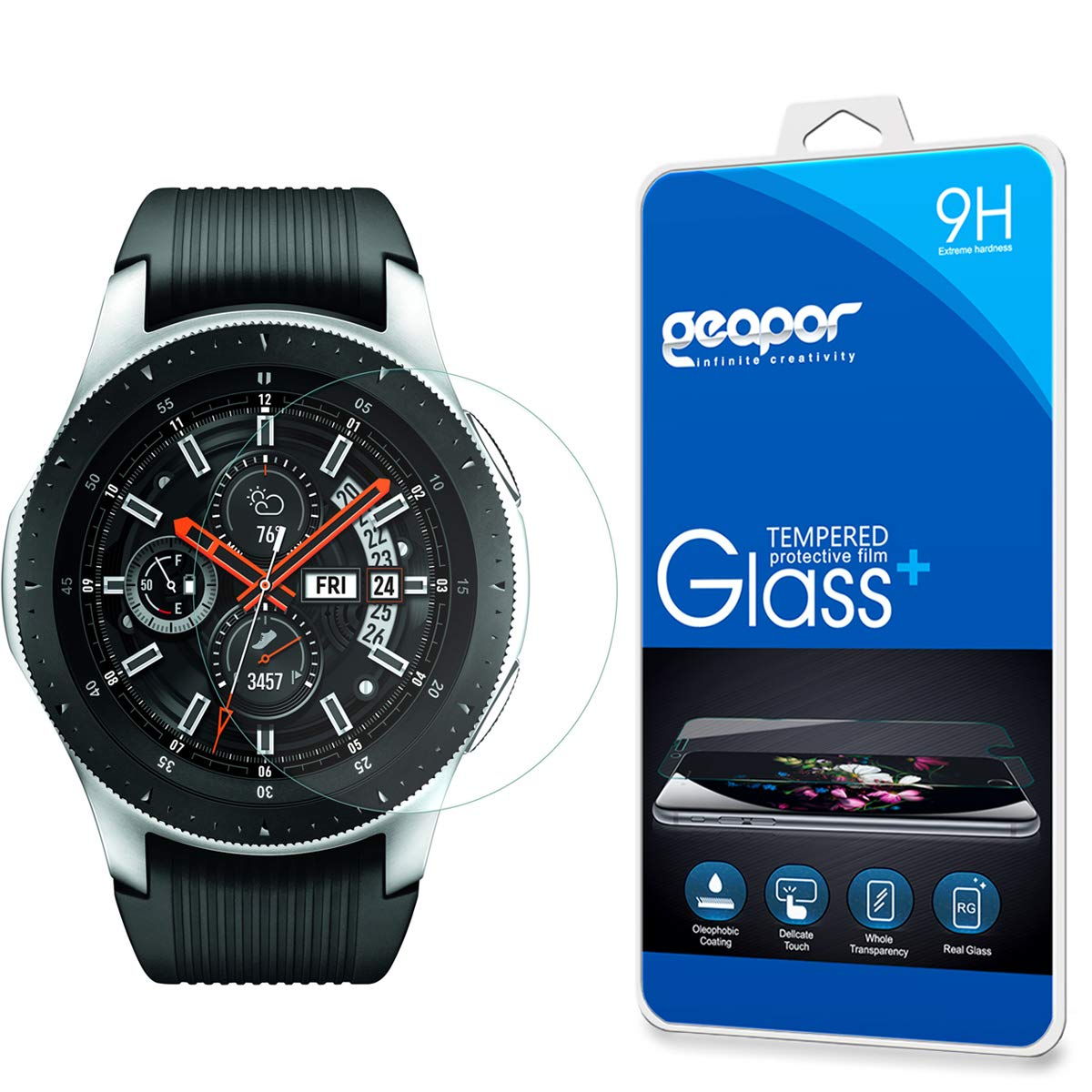 Screen Protector Compatible Samsung Galaxy Watch 46mm (2018) Smartwatch, Geapor Tempered Glass Screen Protectors - 9H HD-Clear Anti-Scratch
