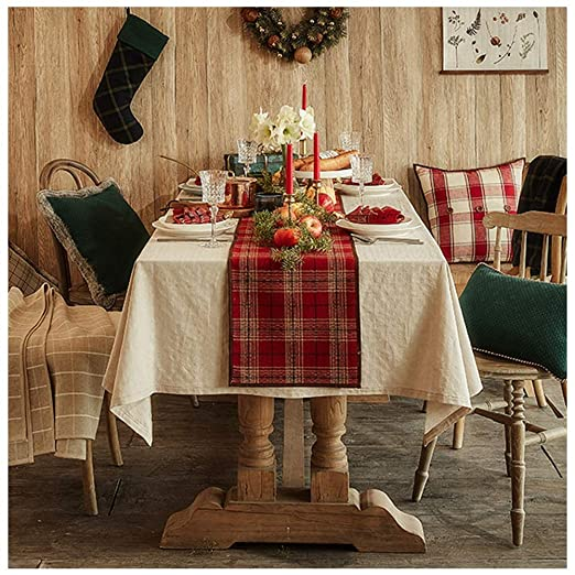ANHPI Camino de mesa navideño americano de tartán rojo, decoración ...