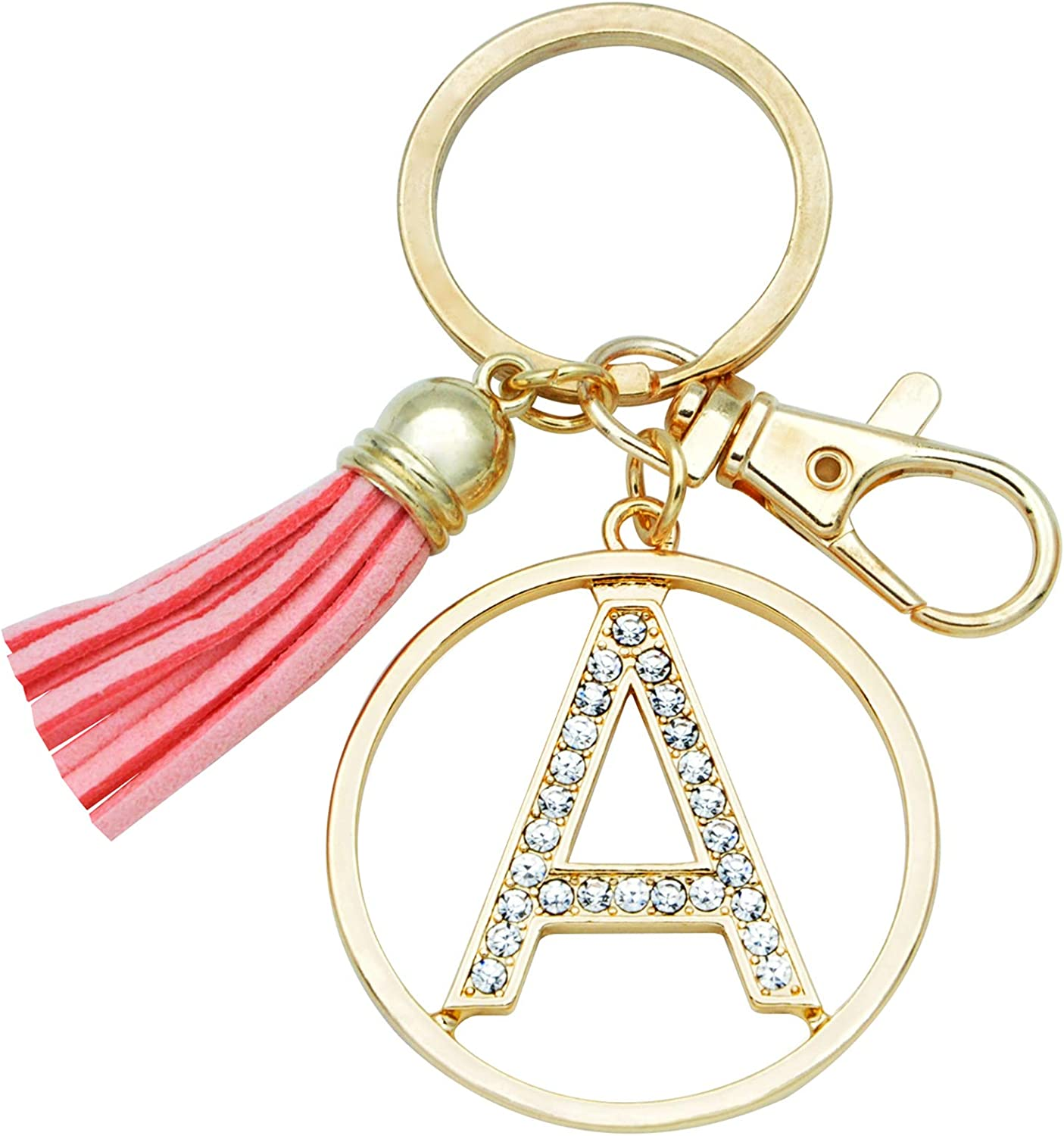 Letter Keychain for Women Purse Charms for Handbags Crystal Alphabet Initial Letter Pendant with Tassel