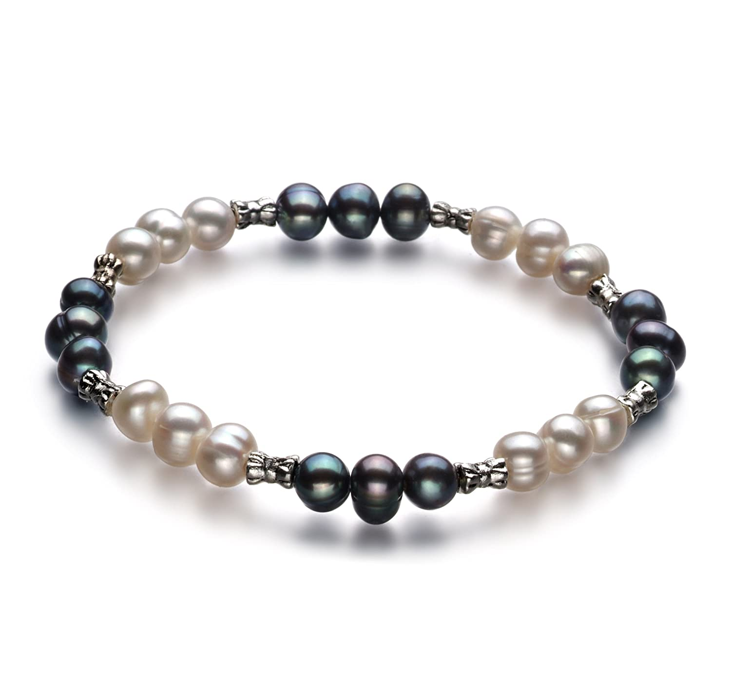 PearlsOnly YinYang Black and White 6.0-6.5mm A Freshwater Cultured Pearl Bracelet-7.5-inch