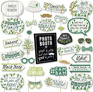 Big Dot of Happiness Family Tree Reunion - Family Gathering Party DIY Photo Booth Decor and Accessories - 30 Photo Props with Photo Booth Sign Party Virtual Bundle