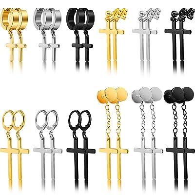 Milacolato Stainless Steel Cross Dangle Hinged Hoop Earrings for Men Women Huggie Drop Earrings 3-8Pairs