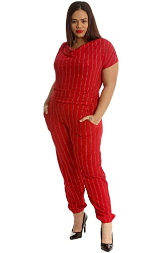 650fa9046ba Nouvelle Collection New Ladies Plus Size Jumpsuit Womens Foil Stripe All In One  Cowl Neck Side Pockets Back Tie  Amazon.co.uk  Clothing