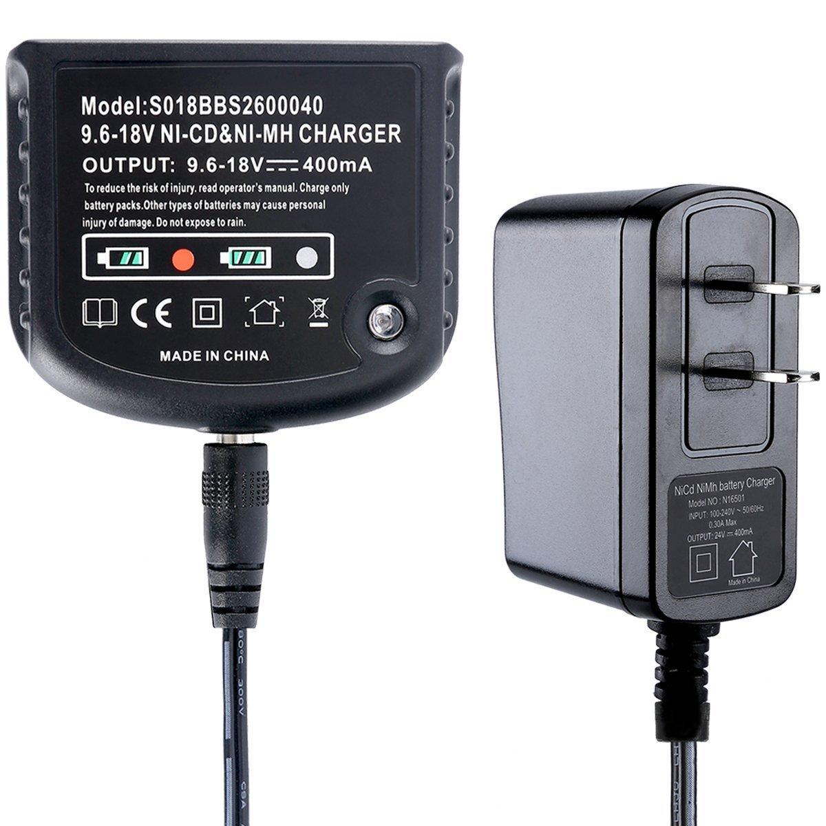 Biswaye 12V 14.4V 18V Dual Chemistry Battery Charger 90556254-01 for Black & Decker 9.6V-18V NiCad & NiMh Battery HPB18 HPB18-OPE FSB18 HPB14 FSB14 HPB12 FS12B HPB96 FSB96