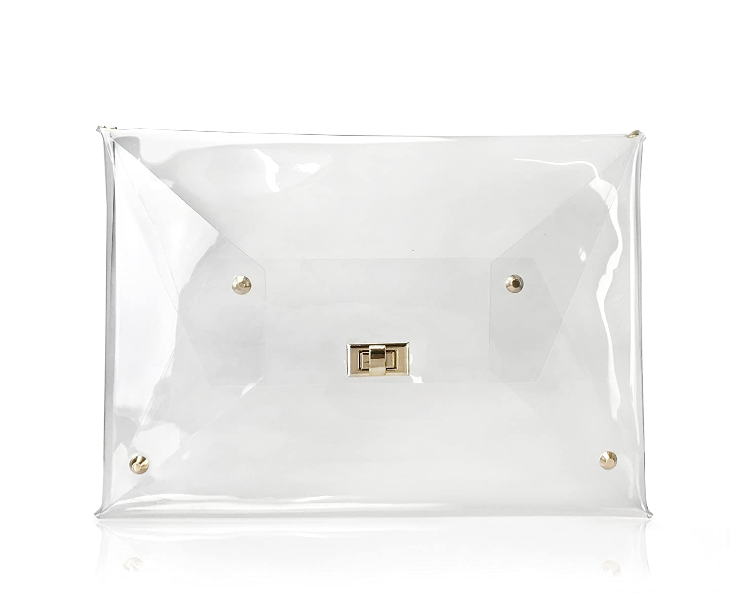 f528d61f3e8 Hoxis Large Size PVC Clear Envelope Clutch Gold Chain Crossbody Shoulder Bag  Women's Purse (Clear): Handbags: Amazon.com