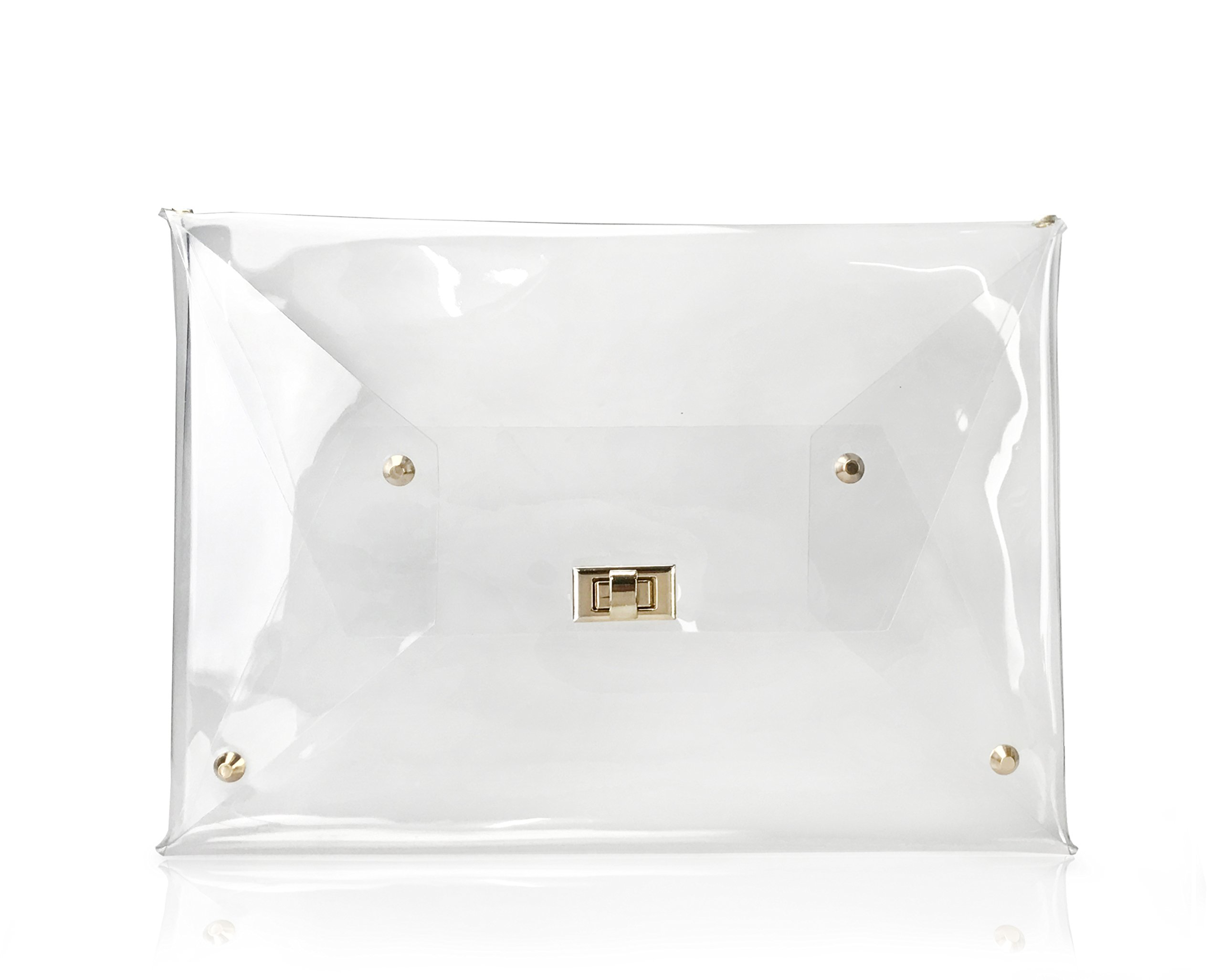 Hoxis Large Size PVC Clear Envelope Clutch Gold Chain Crossbody Shoulder Bag Women's Purse (Clear)