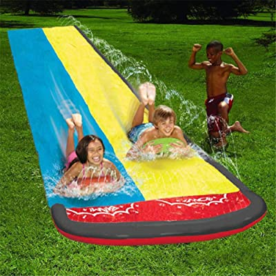 Inflatable Water Slides Double Track, Large Backyard Waterslide, Built in Sprinkler, Sprinkler Pad for Kids, Splash Play Mat for Boys and Girls, Play in The Garden, Backyard, Lawn, 20ft: Arts, Crafts & Sewing