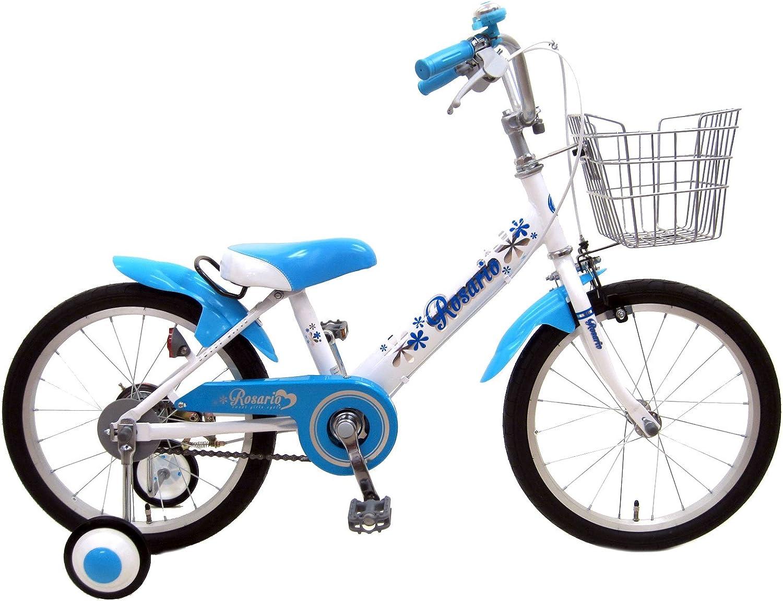 ロサリオ(ROSARIO) 補助輪付き 組み立て式 子供用自転車 幼児自転車 ホワイトブルー 14インチ