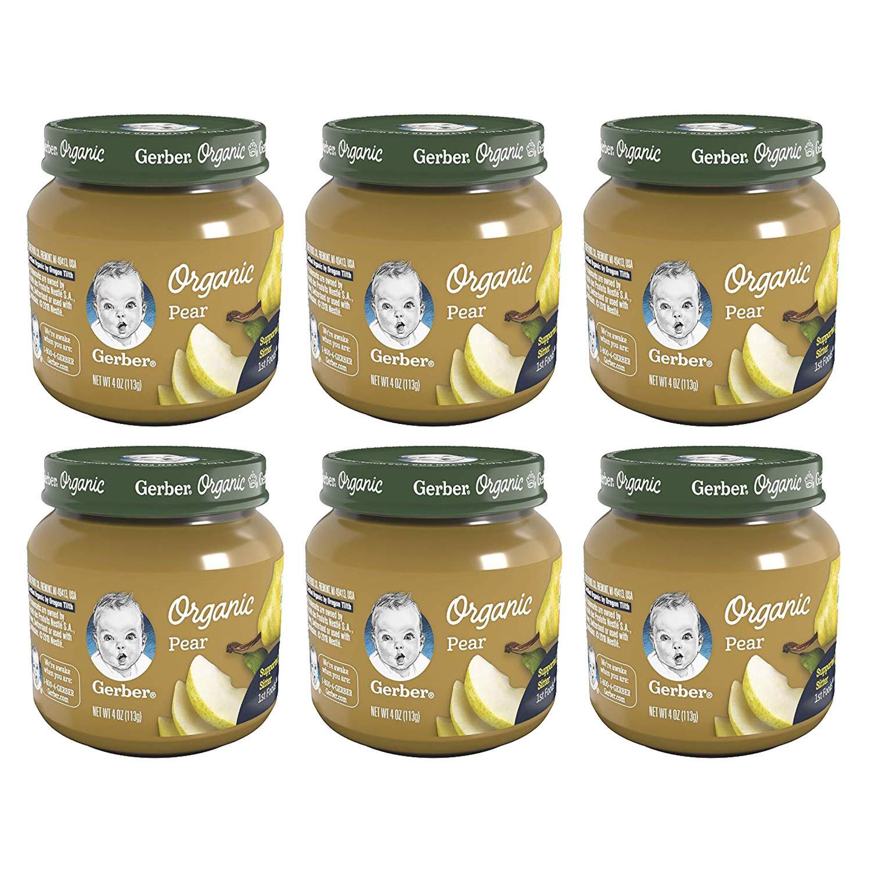 Gerber 1st Foods Baby Food Jars, Organic Pear, 4 Ounce, Pack of 6