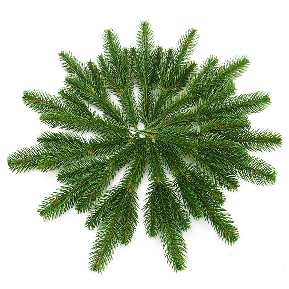 Yarssir 25pcs Artificial Greenery Pine Needle Garland Pine Picks Christmas Holiday Home Decor, 7x3 inches(Green-25 Pack) by Yarssir