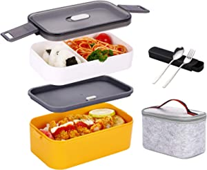YBOBK HOME Bento Box for Adults Kids Japanese Lunch Box with Divider All-in-One Stackable Microwave Safe Leakproof Bento Lunch Box with Bag and Utensils On-the-Go Lunch Container (Yellow and White)