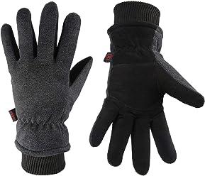 4f4fd17fed1c1 OZERO Winter Gloves Thermal Snow Work Ski Glove - Deerskin Suede Leather  Palm and Polar Fleece