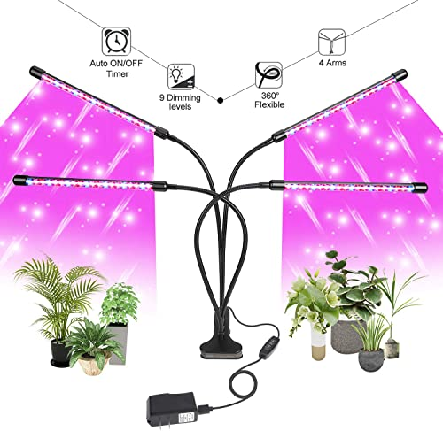 Grow Light for Indoor Plants LED Lamp Bulbs with Red Blue Full Spectrum with 3 9 12H Timer 9 Dimmable Lightness Clip-On Desk Led Plant Growing Lamps 4 Switch Modes with AC Adapter Grow Light