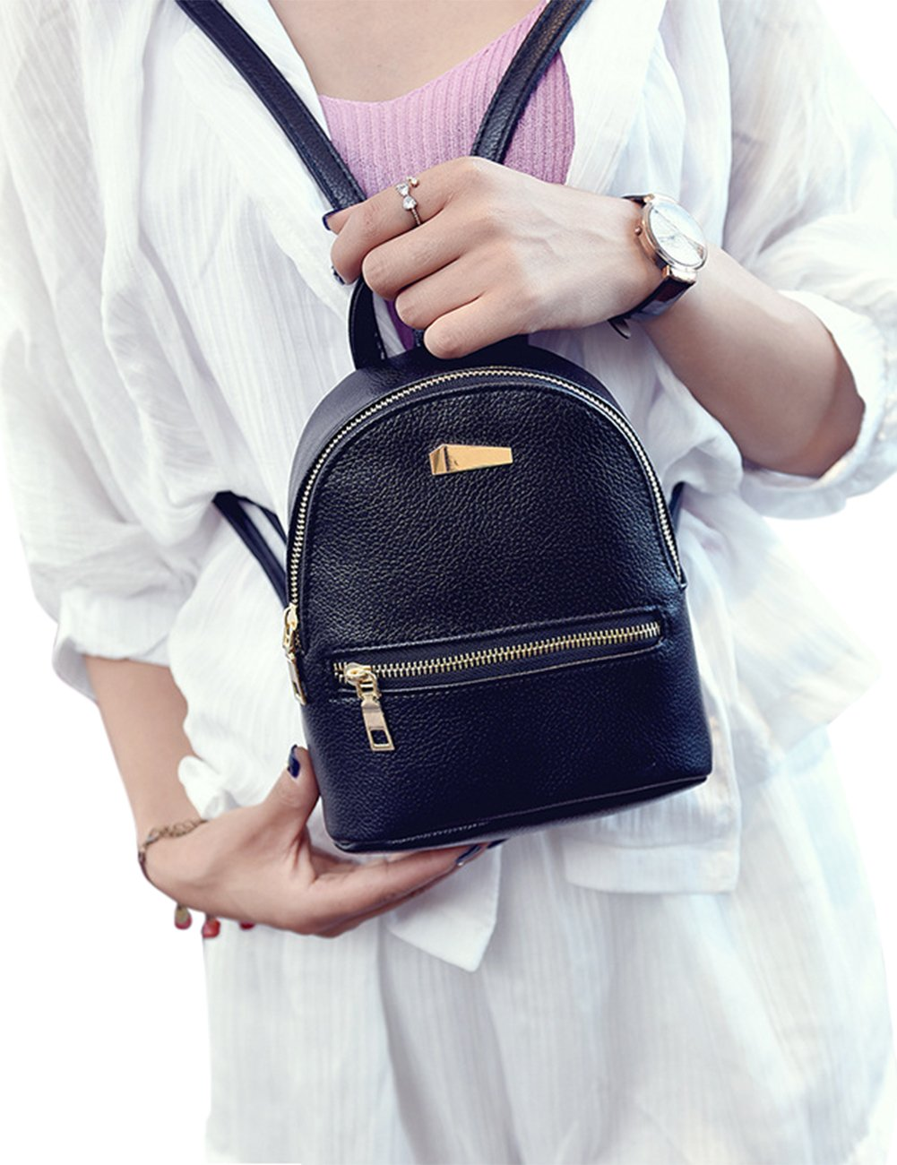 ShiningLove Cute Concise PU Leather Travel Backpack For Teenagers Girls Candy Color Shoulder Bag Casual Daypack Black