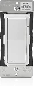 Leviton DZ6HD-1BZ Decora Smart 600W Dimmer with Z-Wave Technology, White/Light Almond, Repeater/Range Extender