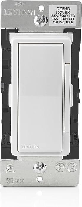 Leviton DZ6HD-1BZ Decora Smart 600W Dimmer with Z-Wave Technology, White/Light Almond, Repeater/Range Extender