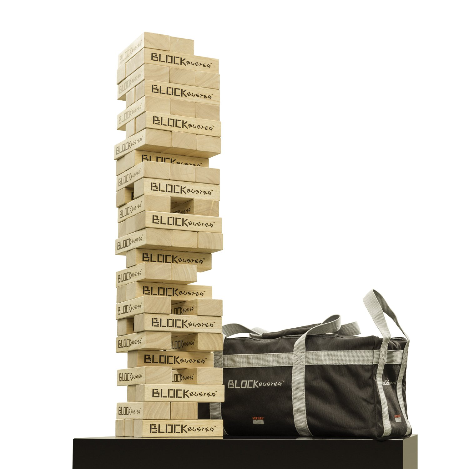 Seville Classics Premium Giant Block Tower Game/w Heavy-Duty Storage Bag (Stacks to 4+ ft.)