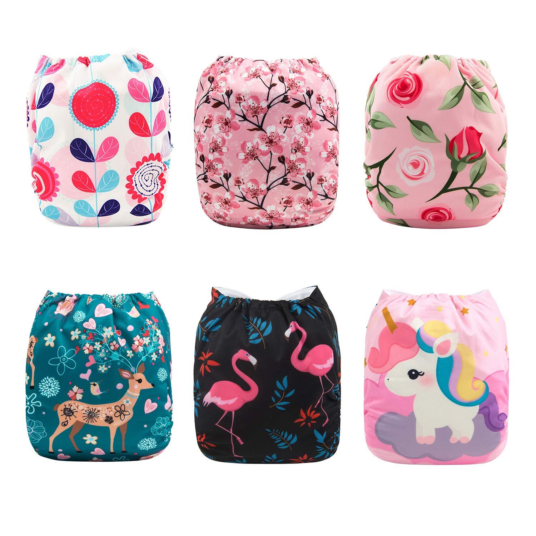 Babygoal Baby Girl Cloth Diapers, Adjustable Reusable Pocket Nappy 6pcs Diapers+ 6pcs Microfiber Inserts+4pcs Bamboo Inserts 6FG10