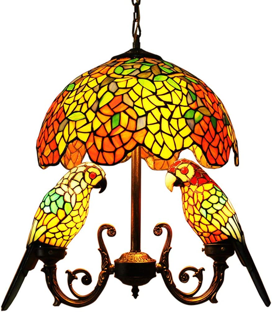 Makenier Vintage Tiffany Style Stained Glass 16 Wisteria Dragonfly Dome Shade 2 Parrot Bird Shade Chandelier Ceiling Pendant Light, Antique Bronze Finish Wisteria Dome 2 Parrot Bird Shades