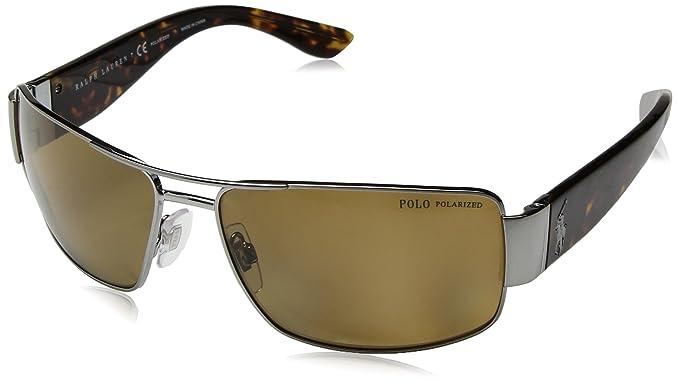 299506c3c047 Polo Ralph Lauren Men's Metal Man Sunglass Polarized Rectangular, GUNMETAL  64 mm